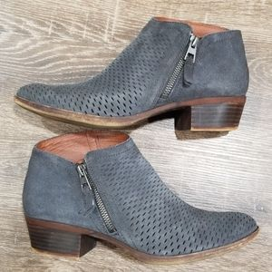 Lucky brand Brielley gray suede ankle boots size 9
